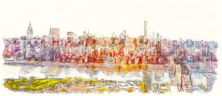Aerial view of the Ed Koch Queensboro Bridge over the East River in New York City watercolor painting 版權商用圖片
