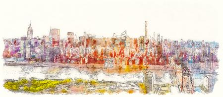 Vue aérienne du pont Ed Koch Queensboro sur l'East River à New York City peinture à l'aquarelle
