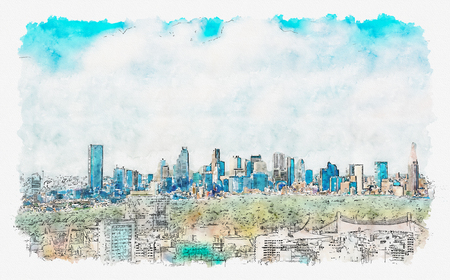 View of the Shinjuku skyline from Shibuya, Tokyo, Japan watercolor painting