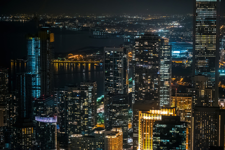 Chicago skyline skyscrapers at night from above