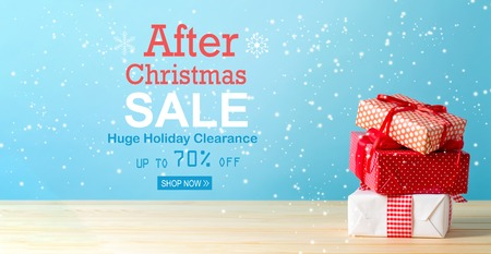 After Christmas sale message with Christmas gift boxes with red ribbons