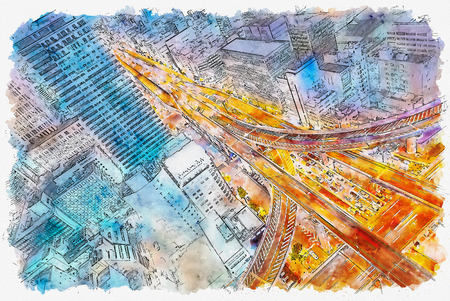 Aerial view of a massive highway intersection in Osaka, Japan watercolor painting