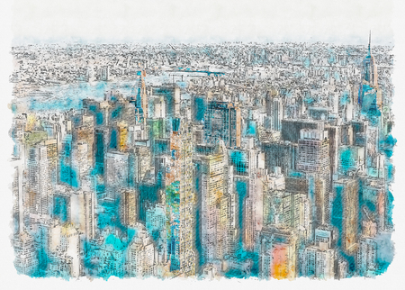 Aerial view of the skyscrapers of Midtown Manhattan New York City watercolor painting