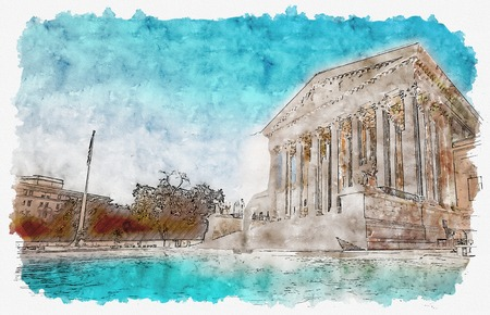 The Supreme Court of the United States in Washington DC watercolor painting Фото со стока
