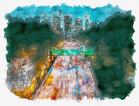 Aerial view of the highway leading to Downtown Los Angeles, CA watercolor painting