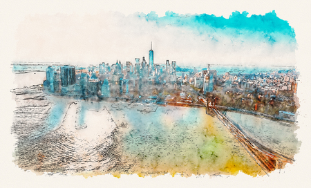 Aerial view of the Brooklyn Bridge over the East River in New York City at sunset watercolor painting