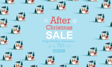 After Christmas sale message with little car carrying Christmas trees