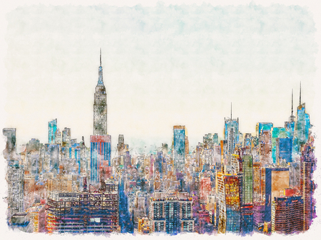 Aerial view of the New York City skyline near Midtown watercolor painting