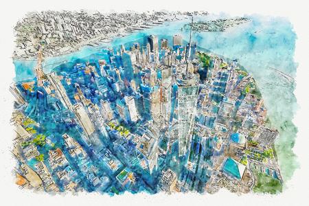 Luftaufnahme des Freedom Tower im One World Trade Center, Manhattan, New York Aquarellmalerei