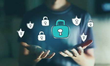Cyber security with young man in the night Stock Photo