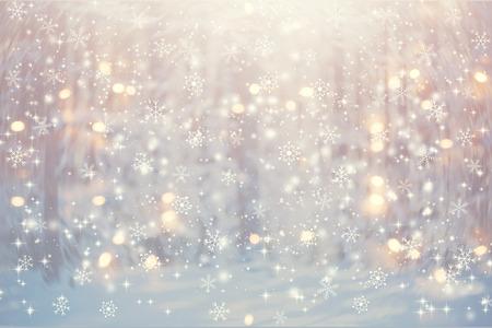 Schöner verschneiter Wald und abstrakter glänzender heller Hintergrund Standard-Bild