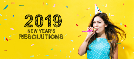 2019 New Years Resolutions with young woman with party theme on a yellow background