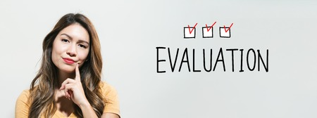 Evaluation with young woman in a thoughtful fac Stock Photo