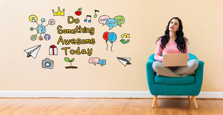 Do something awesome today with young woman using a laptop computer