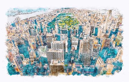 Vista aérea de Midtown Manhattan, NY y pintura de acuarela de Central Park Foto de archivo