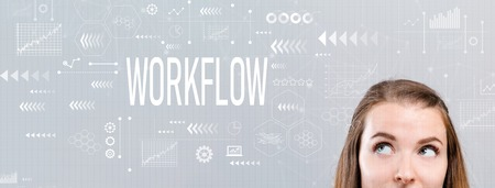 Workflow with young woman looking upwards on a gray background