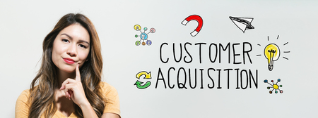 Customer acquisition with young woman in a thoughtful fac Stockfoto