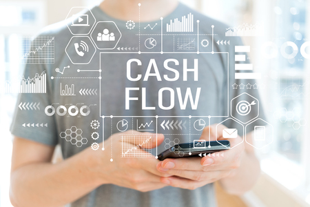 Cash flow with young man using a smartphone