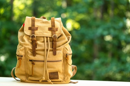 A rustic backpack on a bright summer day in the forest