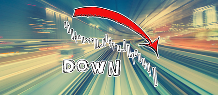 Market down trend chart with abstract high speed technology POV motion blur
