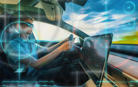 Computer assisted driving car technology theme with speed motion blur Stock Photo