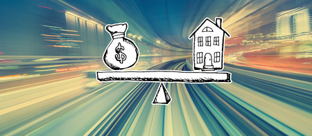 House and money on the scale with abstract high speed technology POV motion blur