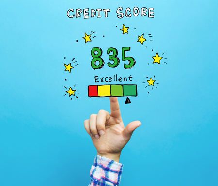 Excellent credit score theme with hand on a blue background Zdjęcie Seryjne