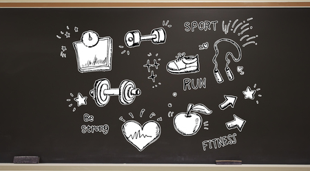 Fitness and diet on a blackboard with erasers