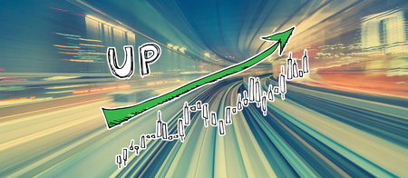 Market up trend chart with abstract high speed technology POV motion blur
