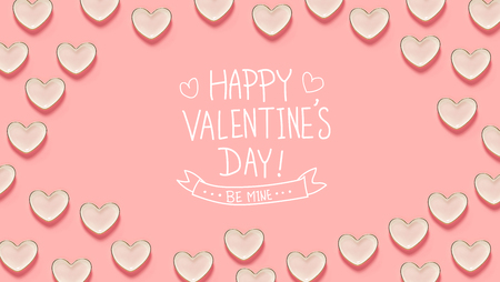 Valentines Day message with many heart dishes on a pink background Stock Photo