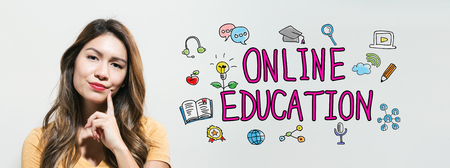 Online education  with young woman in a thoughtful fac Stock Photo