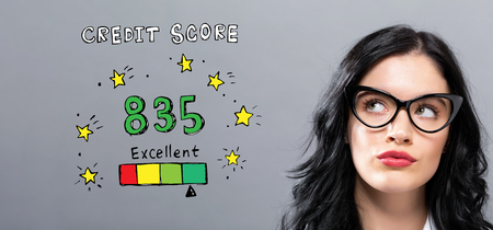 Excellent credit score with young businesswoman in a thoughtful face