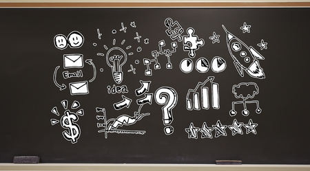 Business strategy ideas on a blackboard with erasers Stock Photo