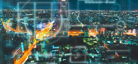 Aerial view of Tokyo at night with a techology theme