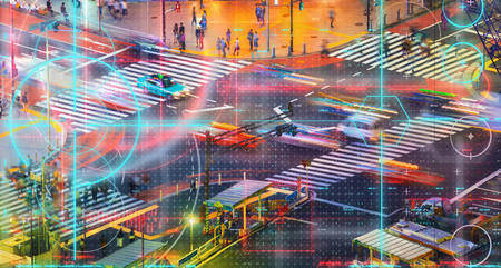 Busy city traffic intersection with technology theme Stock fotó