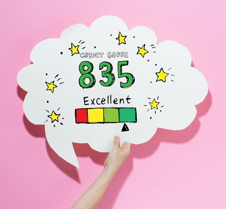 Excellent credit score theme with a speech bubble on a pink background