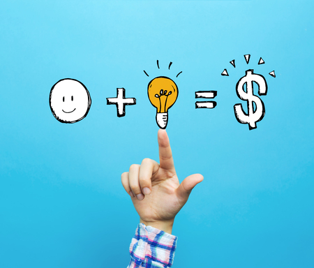Good idea equals money with hand on a blue background