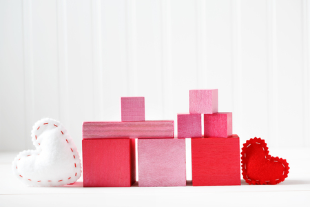 Handmade pink and red blocks with hearts