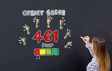 Poor credit score theme with young woman writing on a blackboard 版權商用圖片