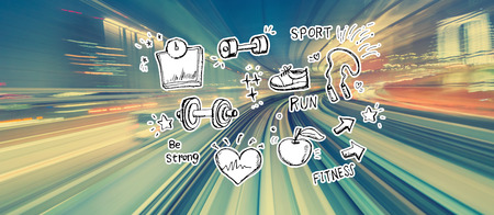 Fitness and diet with abstract high speed technology POV motion blur Imagens