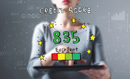 Excellent credit score theme with business woman using a tablet computer