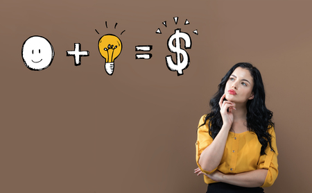 Good idea equals money with young businesswoman on a brown background