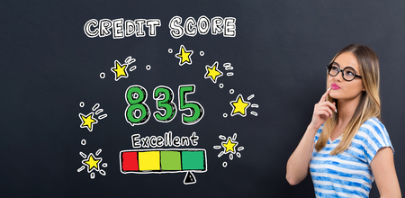 Excellent credit score theme with young woman in front of a blackboard