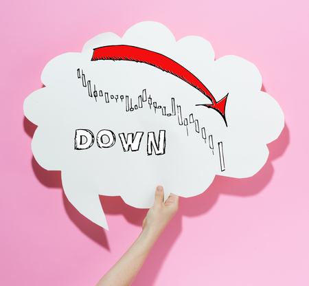 Market down trend chart with a speech bubble on a pink background