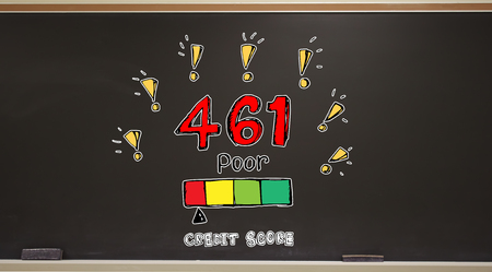 Poor credit score theme on a blackboard with erasers