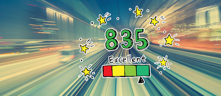 Excellent credit score theme with abstract high speed technology POV motion blur