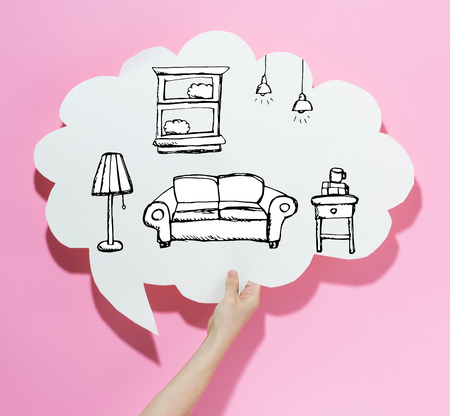 New apartment dream with a speech bubble on a pink background Imagens