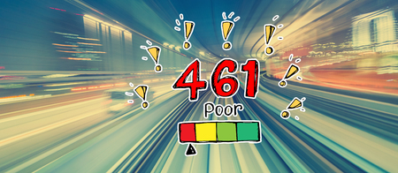 Poor credit score theme with abstract high speed technology POV motion blur Stok Fotoğraf