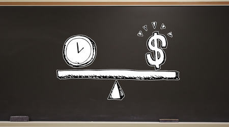 Time and money on the scale on a blackboard with erasers Фото со стока
