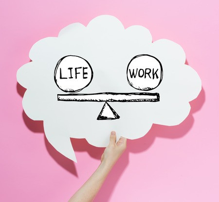 Life and work balance with a speech bubble on a pink background Stock fotó